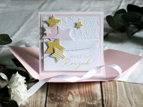 ręcznie robiona kartka urodzinowa na roczek dla dziewczynki
