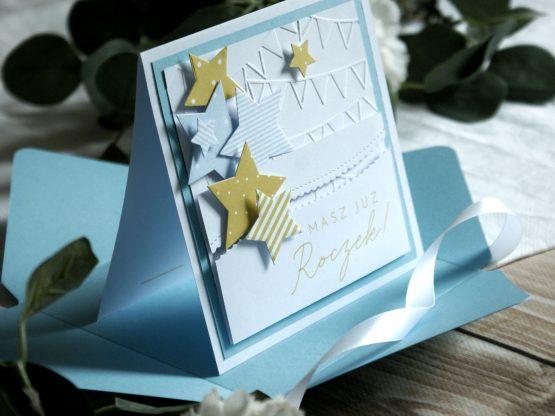 kartka handmade ręcznie robiona dla chłopca na roczek urodzinki